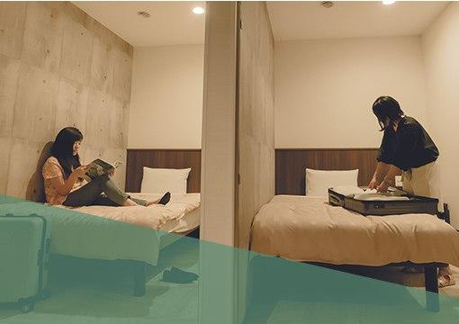 3COMFORT 利便性も高く快適 高品質ベットSertaを使用した完全個室の客室はセキュリティも万全で利便性も高く快適にお過ごしいただけます。